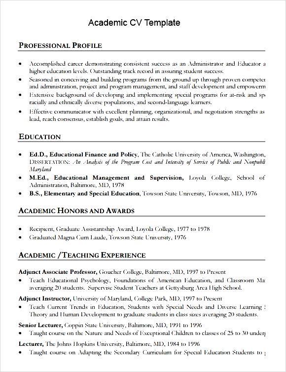 academic cv template printable