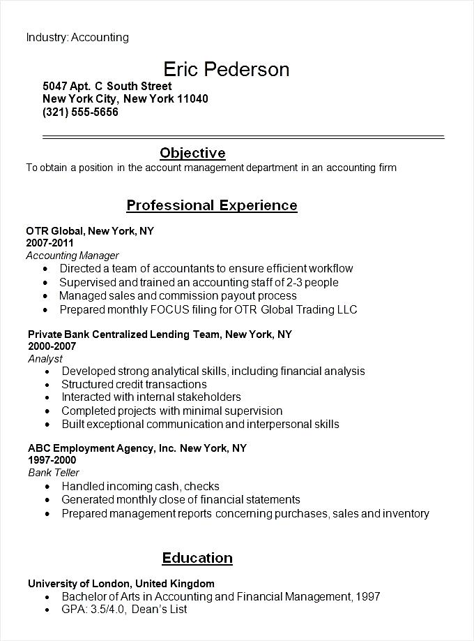 accounting student resume example template