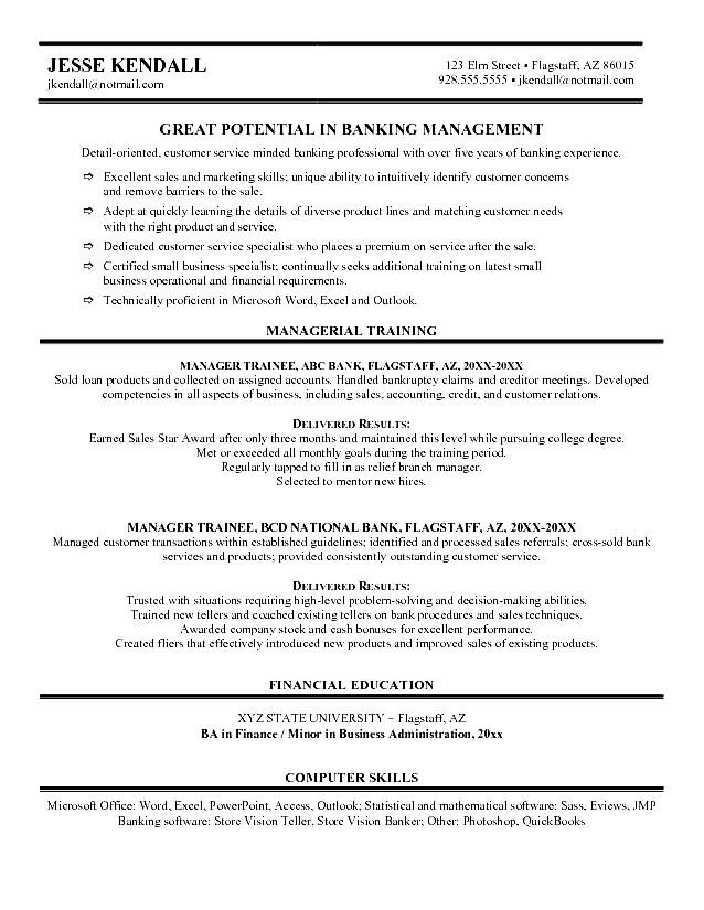 bank manager resume  free samples  examples  format