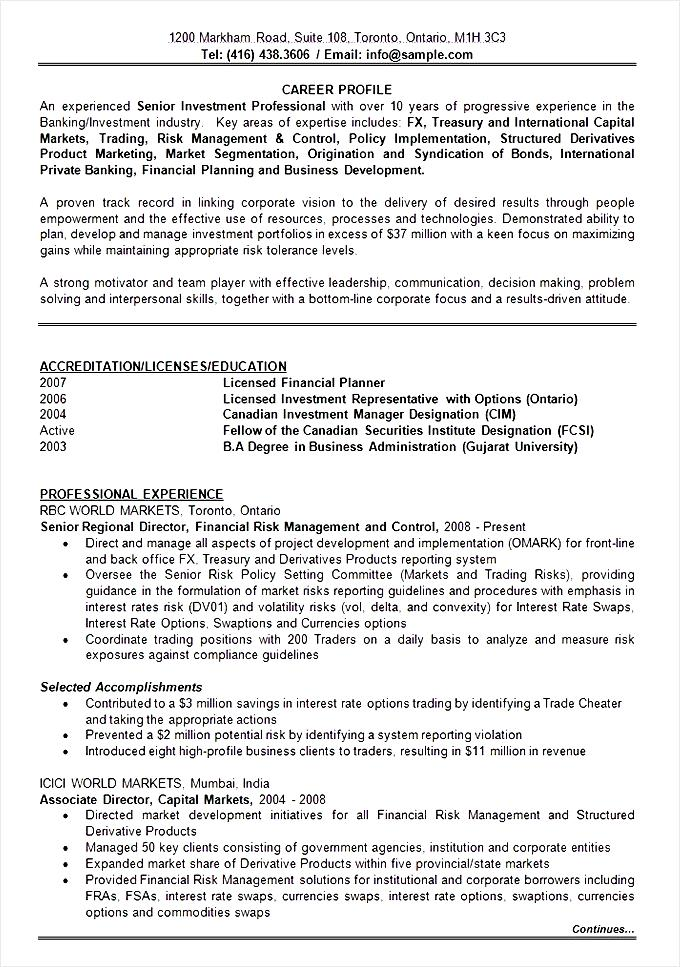 Banking Investment Resume Format Template Free Samples