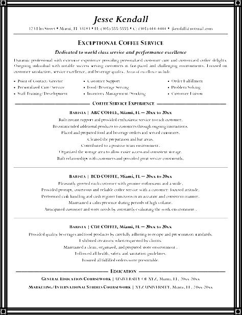 barista resume job description sample