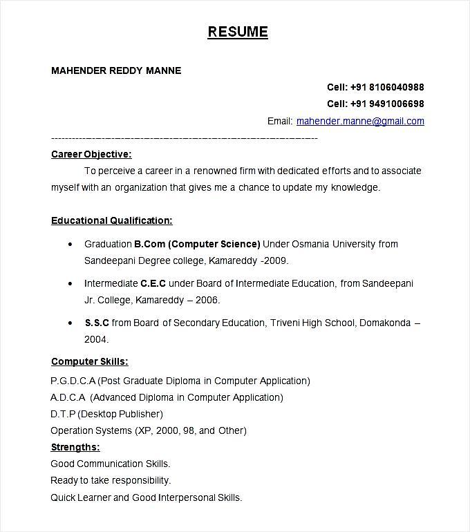Free Samples , Examples & Format Resume / Curruculum Vitae