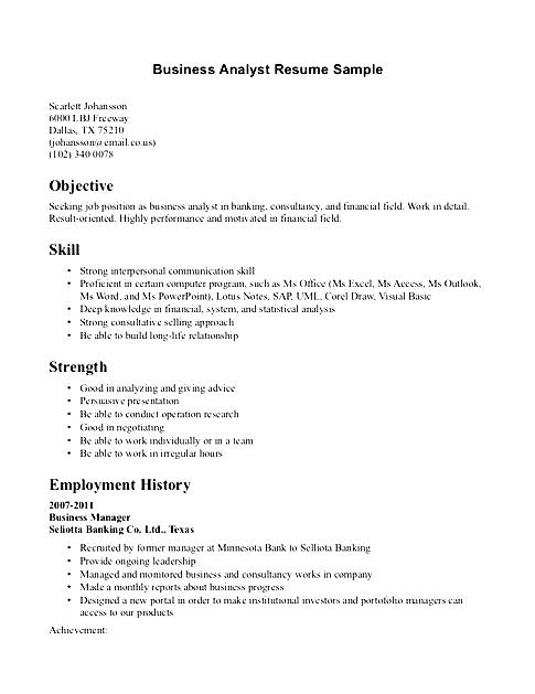 business analyst resume sample free samples examples format