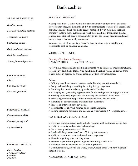 cashier resume exle free sles exles format
