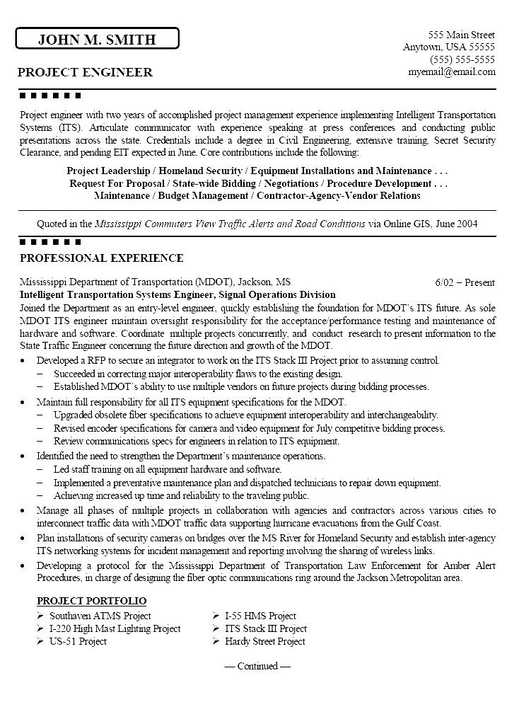 civil engineering resume format