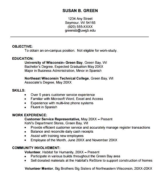 College Freshman Resume Template  How To Create A College Resume