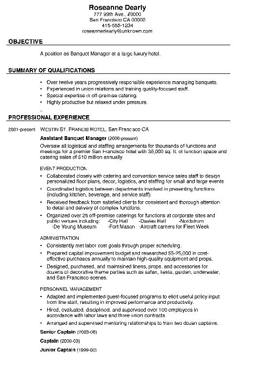 Combination Resume Sample Banquet Manager Png Free