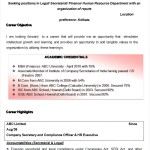 Company Secretary cum MBA Finance Resume Template Sample