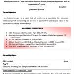 Company Secretary cum MBA Finance Resume Template Sample