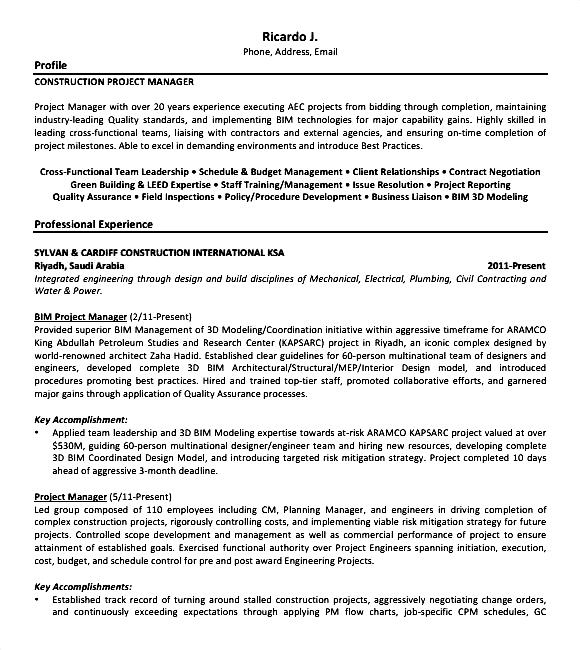 Construction Worker Sample Resumes - Resume Examples | Resume Template