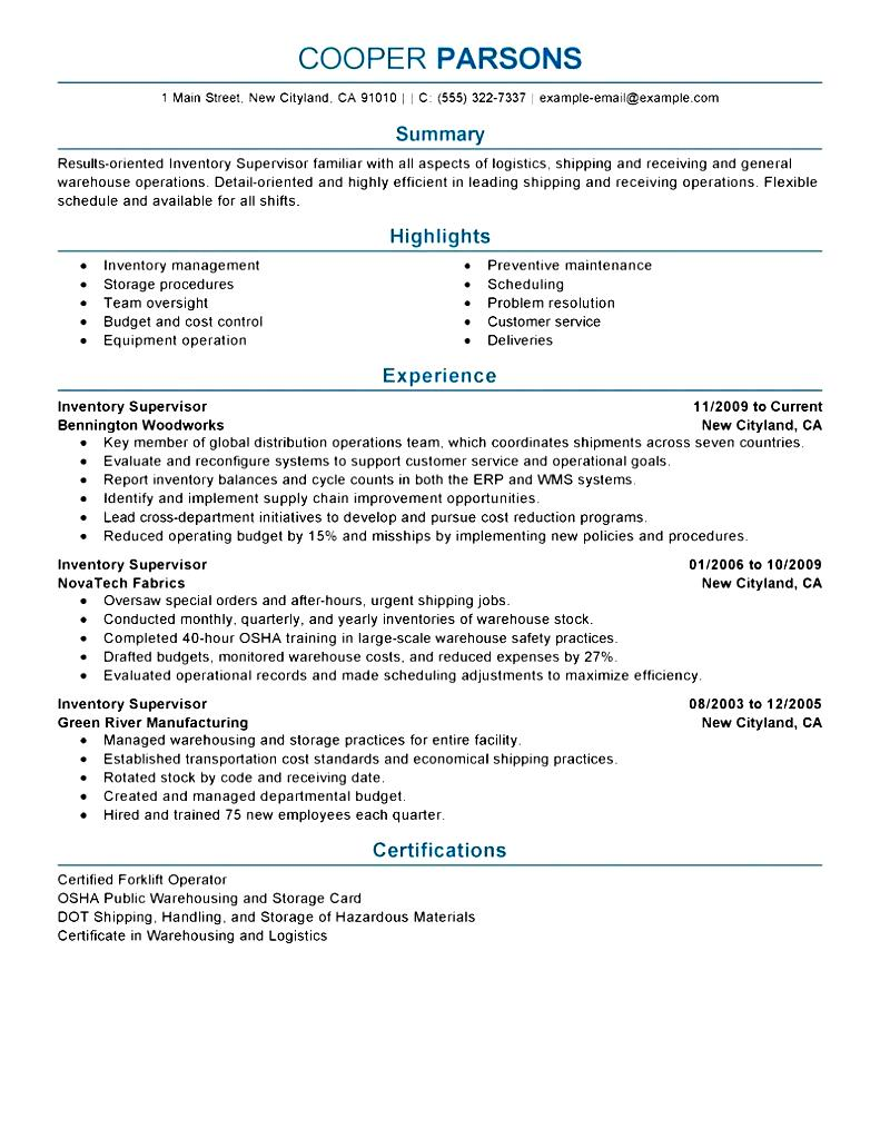 Construction Supervisor Resume Sample Free Samples