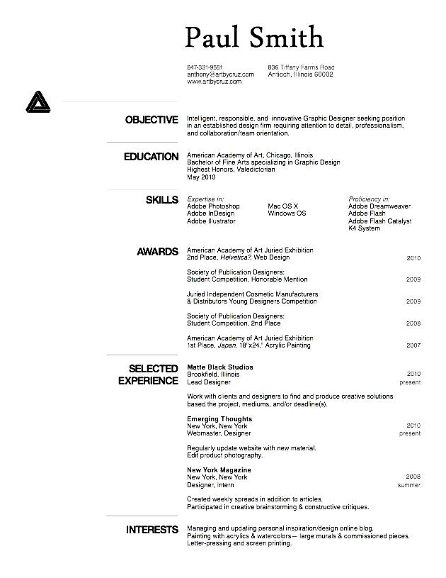 curriculum vitae english example