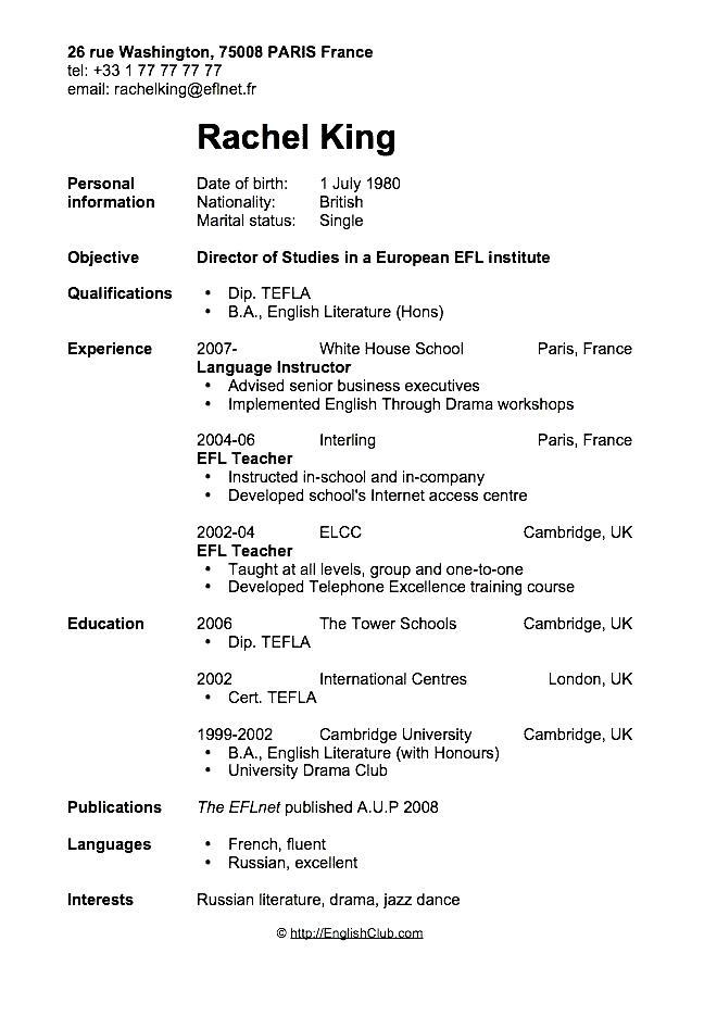 Curriculum Vitae English Format Free Samples Examples