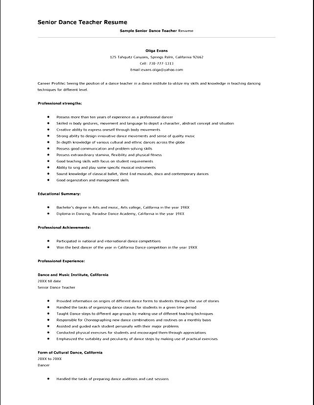 dance teacher resume sample