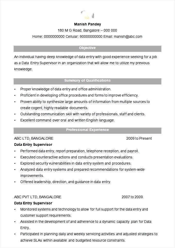 data entry supervisor resume format