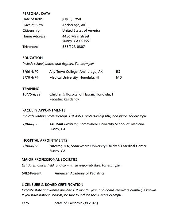 doctor resume template pdf