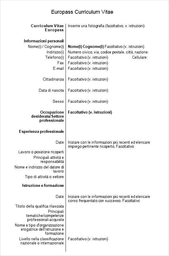 europass curriculum vitae word