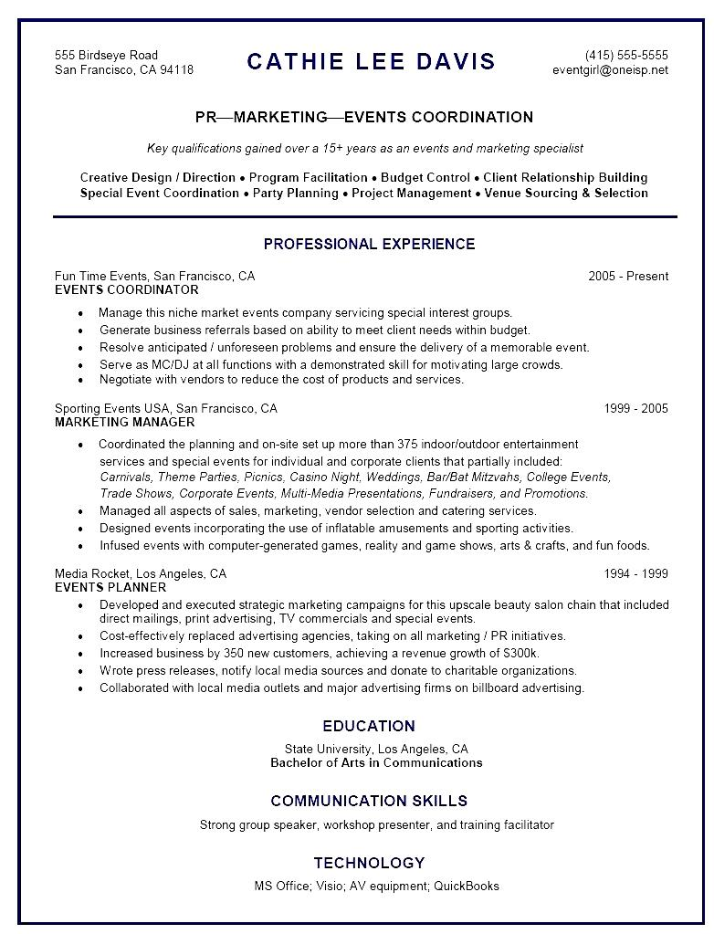 event coordinator resume sample - anuvrat.info