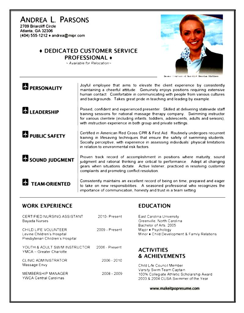 flight attendant resume example