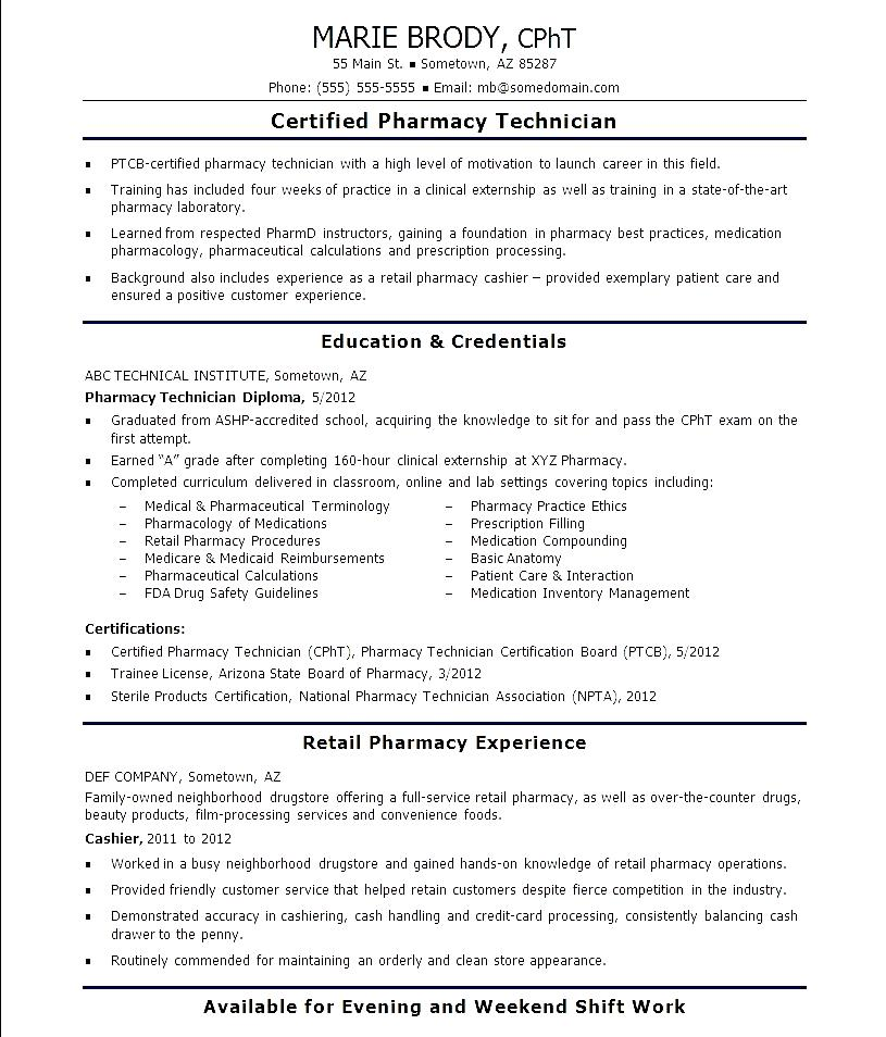Retail Pharmacy Technician Resume Example