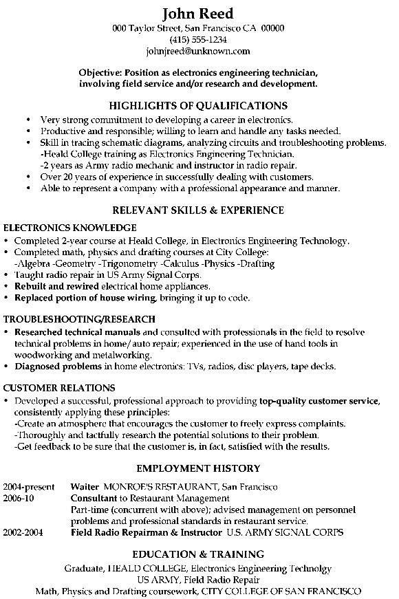 functional resume sample electronics engineering