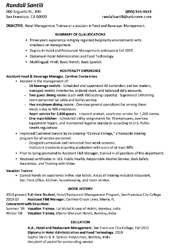 functional resume sample hotel management trainee png