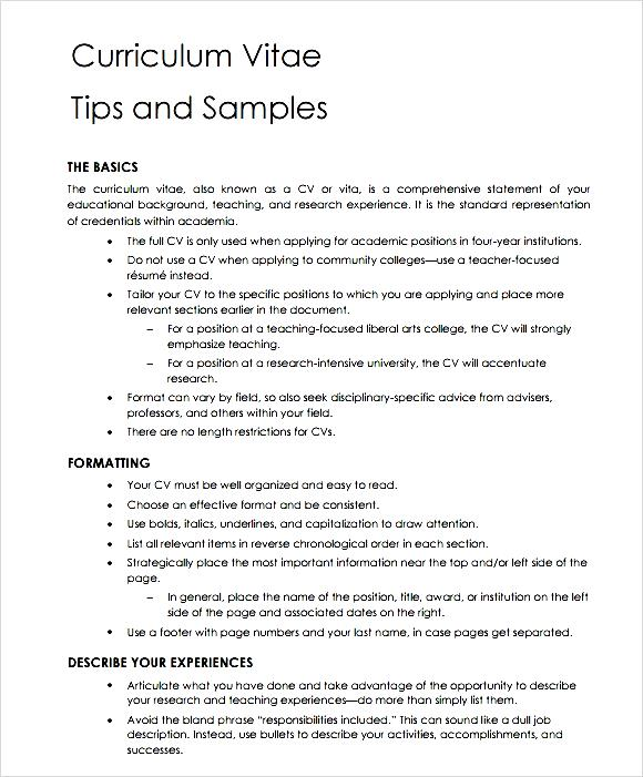 General Teaching Cv Template Free Samples Examples