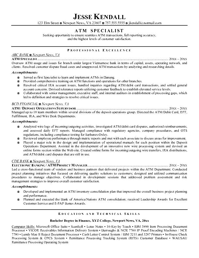good teller resume example