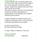 media cv template   free samples   examples  amp  format resume    graduate media sales executive cv template pdf