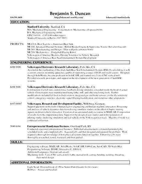 Sample resume for handyman position