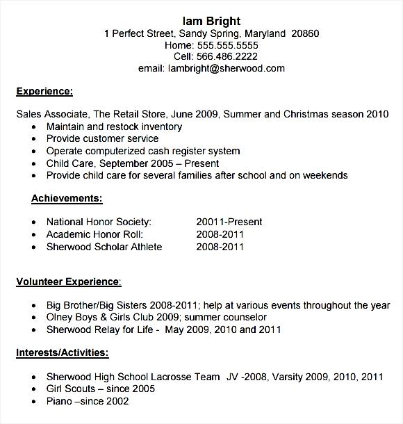 High School Resume Template PDF Download