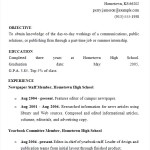 High School Resume for Summer Job