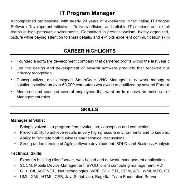 it program manager resume pdf free sles exles