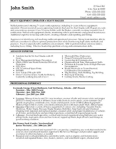 machine operator sample resume