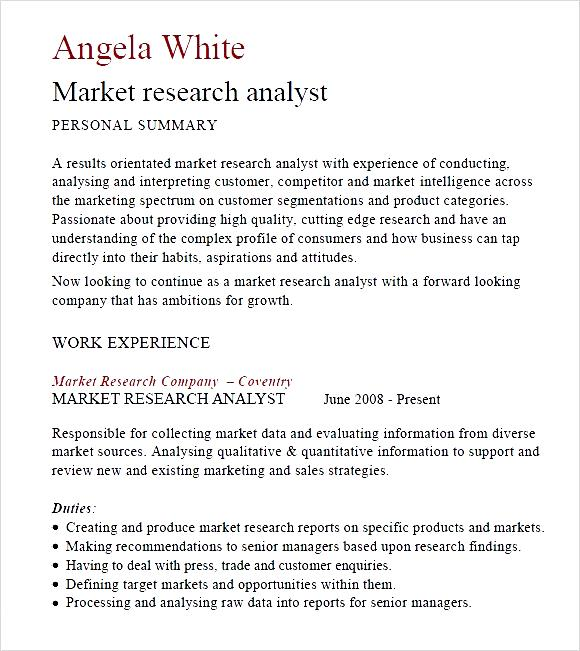 sle resume marketing research analyst