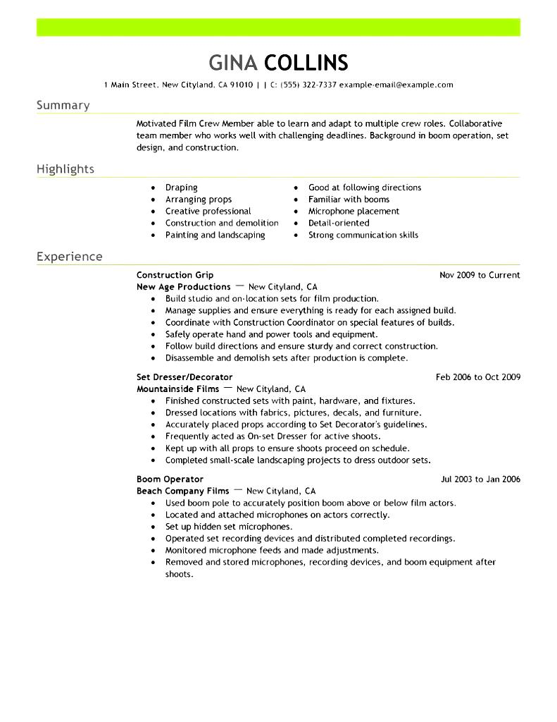 media production resume sample