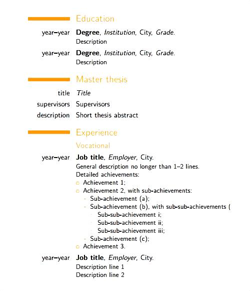modern cv template free pdf