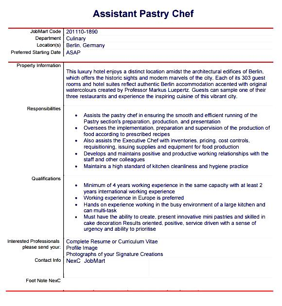 Pastry Chef Resume Template Free Samples Examples