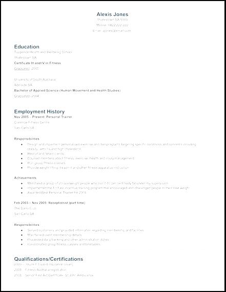 personal trainer resume sample