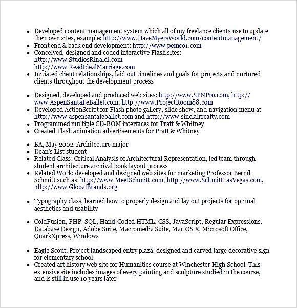 Php Developer Cv Template PDF - Free Samples , Examples & Format ...