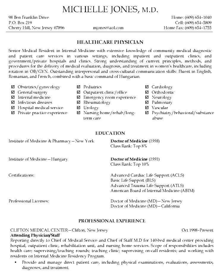 Physician Resume Sample Free Samples Examples Amp Format