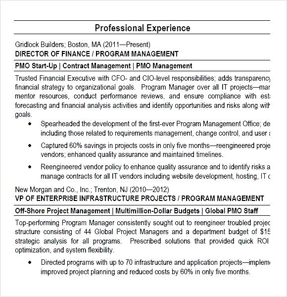 program manager pmo director resume pdf