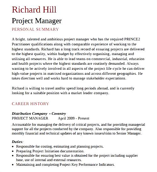 project manager cv template download