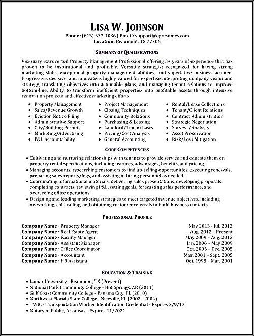 property management resume sample