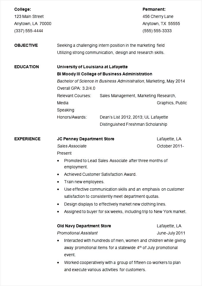 Resume Example For Internship Template Free Samples