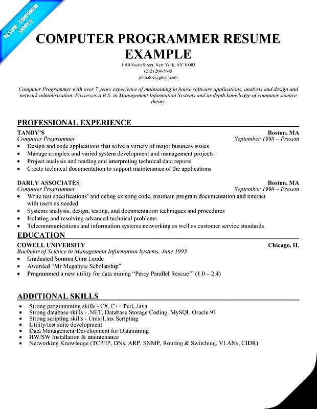 Resume computer skills example