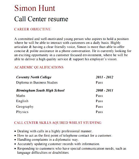 resume format for bpo freshers