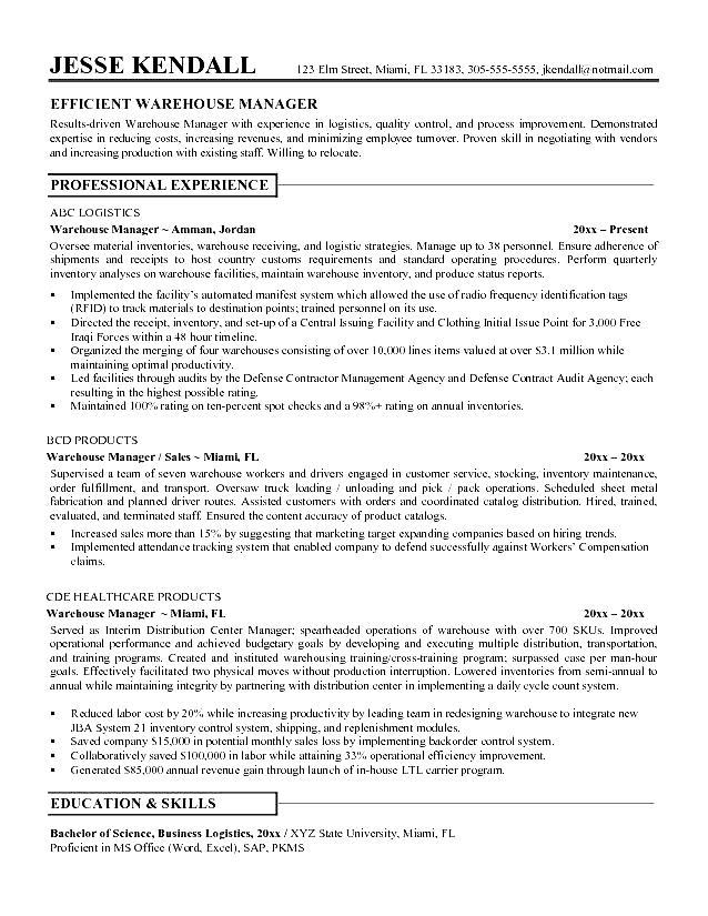 resume sample warehouse worker