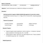 Resume Sample for Summer Intern Template