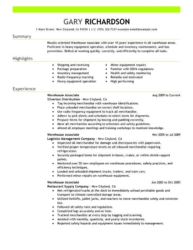 resume warehouse associate worker